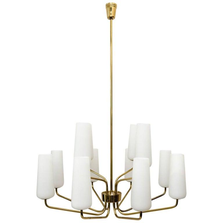Beautiful Big Twelve-Light Italian Brass Chandeliers with Glass