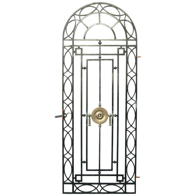 Wrought Iron Pedestrian Gate With Bronze Roundel, circa 1900 For Sale
