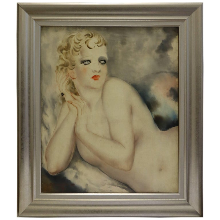 Reclining Female Nude by Micao Kono, Art Deco, France, 1933 For Sale
