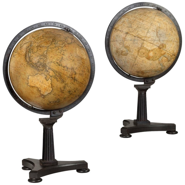 Pair of Antique Desk Globes by Newton 1 - Pair Of Antique Desk Globes By Newton For Sale At 1stdibs