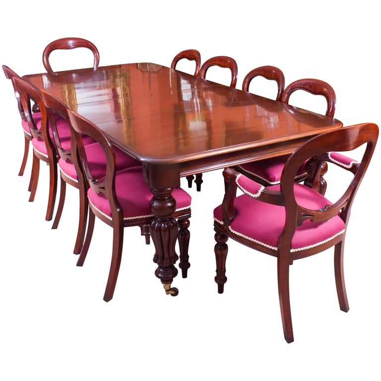 19th Century Mahogany Dining Table And Ten Balloon Back Chairs For Sale