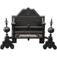 Irish Victorian Antique Cast Iron Dog Grate Fire Basket