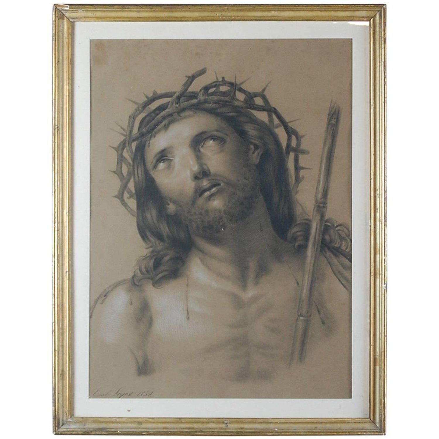 19th century pencil and pastel drawing of jesus christ in his crown of thorns at 1stdibs
