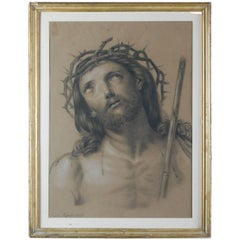 19th Century Pencil and Pastel Drawing of Jesus Christ in His Crown of Thorns
