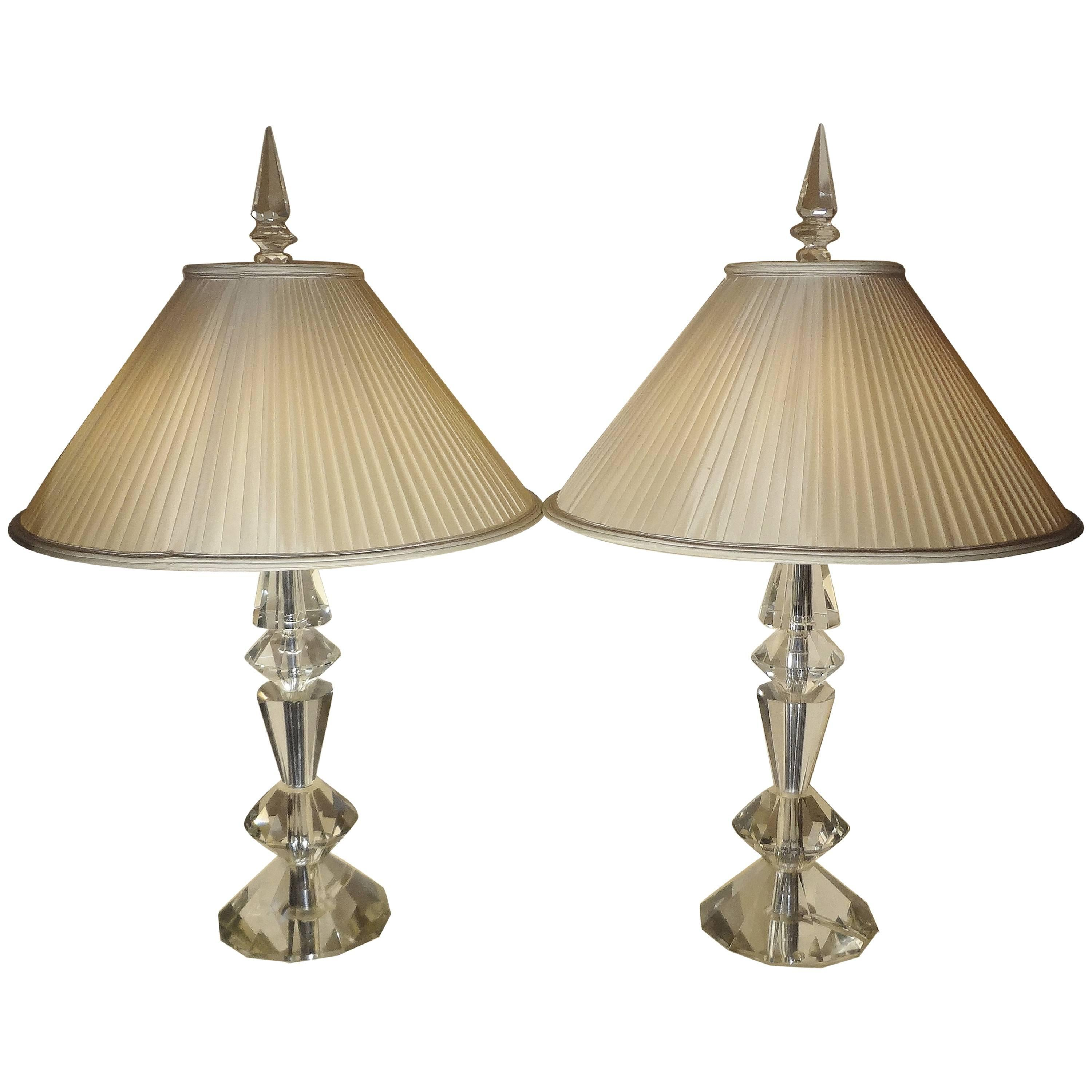 Spectacular Pair of Glass Table Lamps, France, 1970s