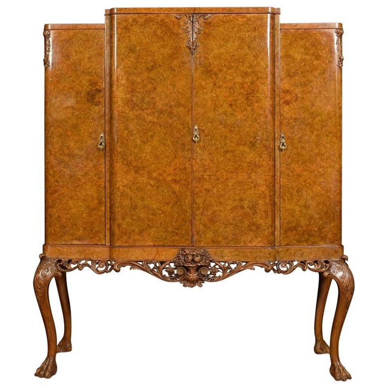 Large Burr Walnut Breakfront Cocktail Cabinet