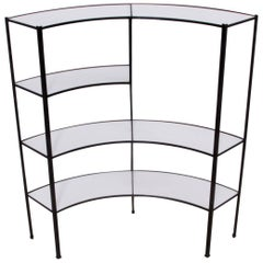 Black and White Vitrolite Glass Wrought Iron Shelf by Frederick Weinberg