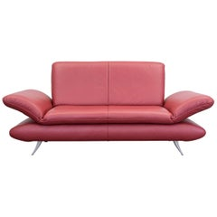 Koinor Rossini Designer Sofa Red Full Leather Two-Seat Function Modern