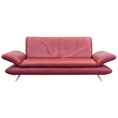 Koinor Rossini Designer Sofa Red Full Leather Three-Seat Function Modern