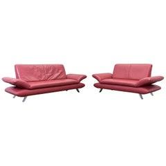 Koinor Rossini Designer Sofa Set Red Full Leather Three-Seat, Two-Seat