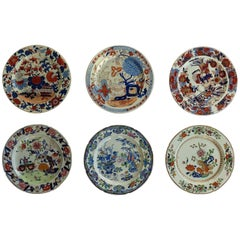 Six Early Mason's Ironstone Dinner Plates Harlequin Set Some Rare, circa 1815