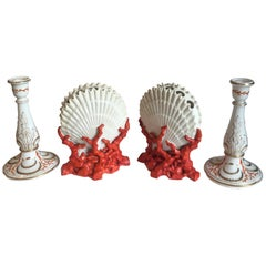 Staffordshire Porcelain Shell and Coral Form Bough Pots and Candlesticks