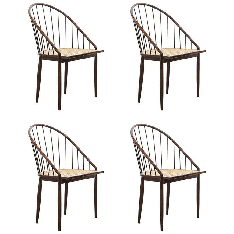 Set of Four Joaquim Tenreiro's Curva Chair Midcentury Brazilian For Sale