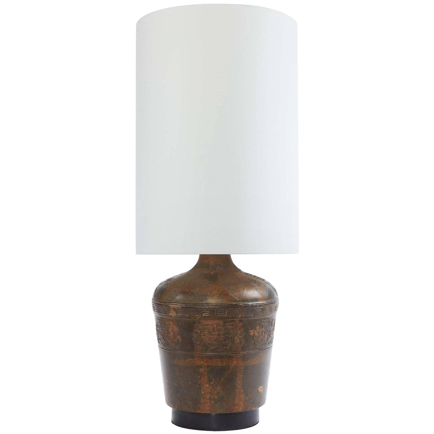 Mid-20th Century Etched Brass Lamp with Custom French Paper Shade
