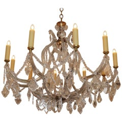 Large Vintage French Maria Theresa Style Crystal Chandelier with Ten Lights