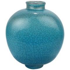 Large Art Deco Turquoise Crackle Glaze Majolica Vase by F Glatzle for Karlsruhe