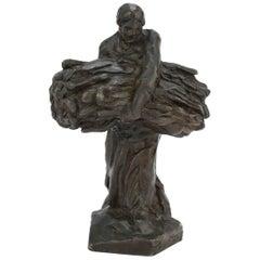 Cire Perdue Bronzeskulptur einer Erntearbeiterin von Dalou für Susse Freres