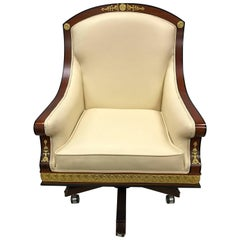 Louis XVI Style Cream Leather Desk Chair with Gold Medallions
