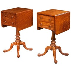 Pair of William IV Satinwood Bedside or Deception Tables