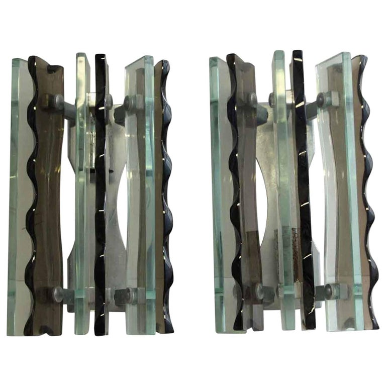 1980s French Pair of Mid-Century Modern Style Chrome and Glass Wall Sconces