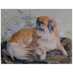 Pekingese Dog Portrait 20th Century French Painting Signed by A Gauthier