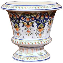 Early 20th Century, French Hand-Painted Faience Planter from Rouen