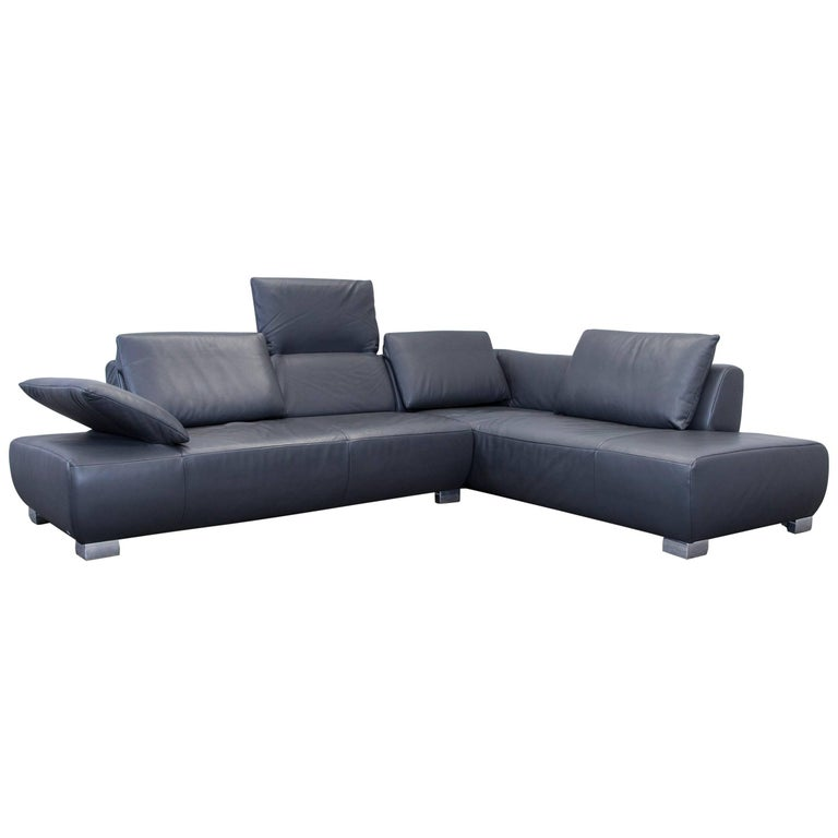 koinor volare leather corner sofa grey anthracite function couch at 1stdibs. Black Bedroom Furniture Sets. Home Design Ideas