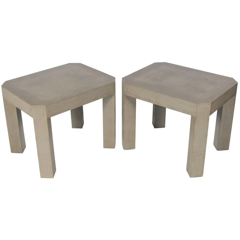 Pair of Faux Snakeskin Tables in the Manner of Karl Springer
