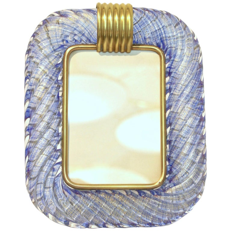 Barovier Toso 1970s Vintage Twisted Gold and Topaz Blue Murano Glass Photo Frame