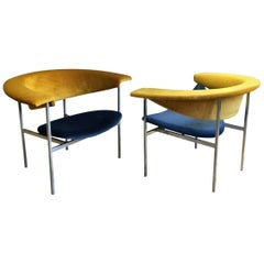 Pair of Reupholstered Dutch Rudolf Wolf Meander Gamma Chairs in Blue and Gold