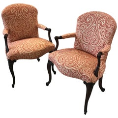 Carved Pair of Mahogany Accent Chairs