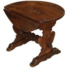 Early 1800s Italian Walnut Wood Drop-Leaf Side Table