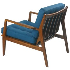 Modern Lounge Chair in Walnut with Upholstered Button Tufted Cushions