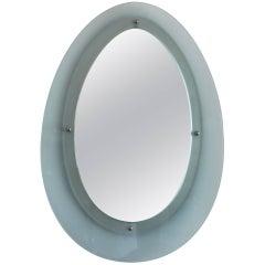 Italian Glass Mirror in the Style of Fontana Arte