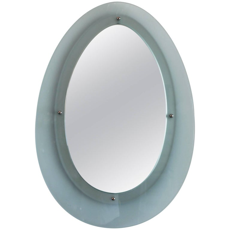 Italian Glass Mirror in the Style of Fontana Arte 1