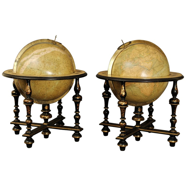Globes For Sale >> Superb Pair Of Delamarche Table Globes For Sale At 1stdibs
