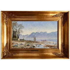 Peder Monsted: Spring Day, Ouchy by Lausanne, Signed and Dated P. Monsted 1887