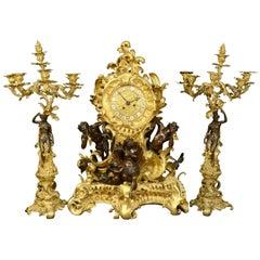 Napoleon III Ormolu and Coated Bronze Garniture, Paris, France, circa 1870