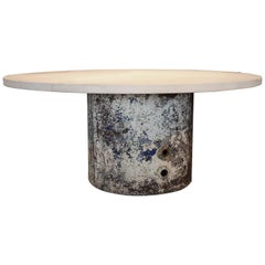 Reclaimed French Industrial Cylinder with Limestone Top