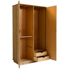 Bamboo Two-Door Armoire Wardrobe with Chevron Front Detail