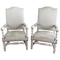 Pair of 19th Century Louis XIII Style Armchairs