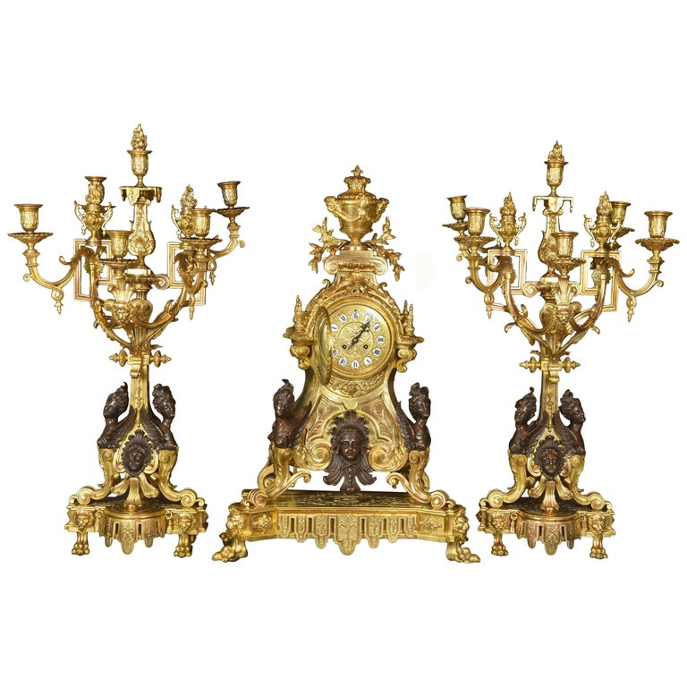 Napoleon III Garniture Set Bronze, France, circa Second Half of the 19th Century