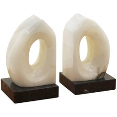 Italian Marble and Alabaster Bookends