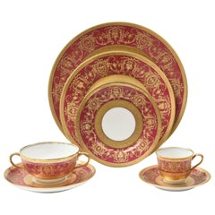 Extensive Rare Rich Ruby Gilt Encrusted China Dinner Service, Paris