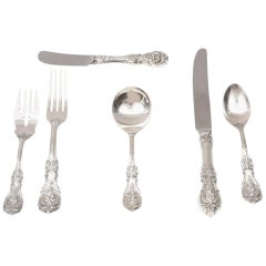 Sterling Silver Flatware Service for 12, with 24 Teaspoons, Cream Soup Spoons.84