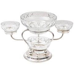 Sterling and Cut Crystal Centrepiece or Epergne, Three-Arm with Centre Bowl