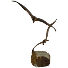 C. Jere Sculpture Pair of Birds in Flight on Quartz Base Mid-Century Modern