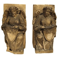 Pair of Antique Terra Cotta Building Ornaments from England, circa 1820