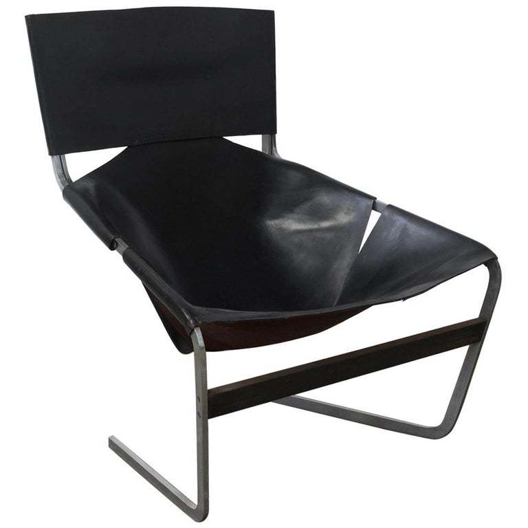 1963, Pierre Paulin, Lounge Chair 444 for Artifort in Black Leather