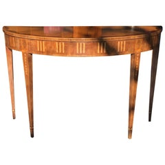 English Adam Style Inlaid Demilune Console Table by Baker